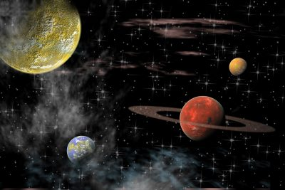 views of the universe with several planets on a background of stars